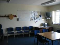 The crew training room with TV, video and whiteboard