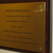 The plaque detailing the donor for the crew facilities, Mr. Bill Koch, who won the America's Cup with America3.