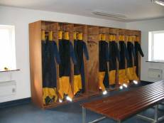 The crew muster room where all crew clothing is stored